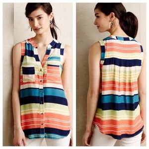 Anthropologie   Colorful Striped Button Down Tank